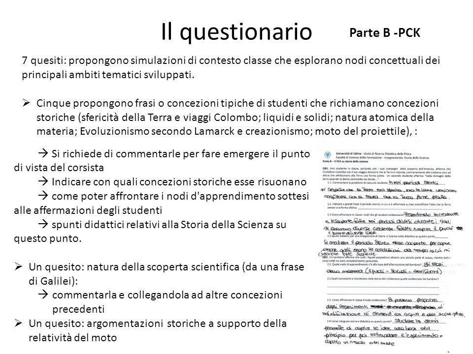 Il questionario Parte B -PCK