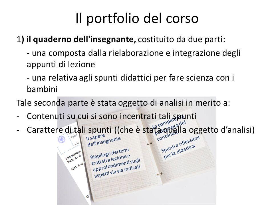 Il portfolio del corso 1) il quaderno dell insegnante, costituito da due parti: