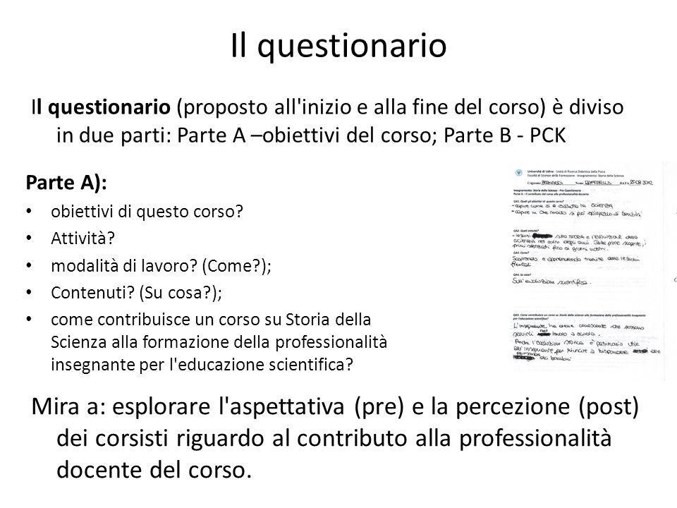 Il questionario Il questionario (proposto all inizio e alla fine del corso) è diviso in due parti: Parte A –obiettivi del corso; Parte B - PCK.