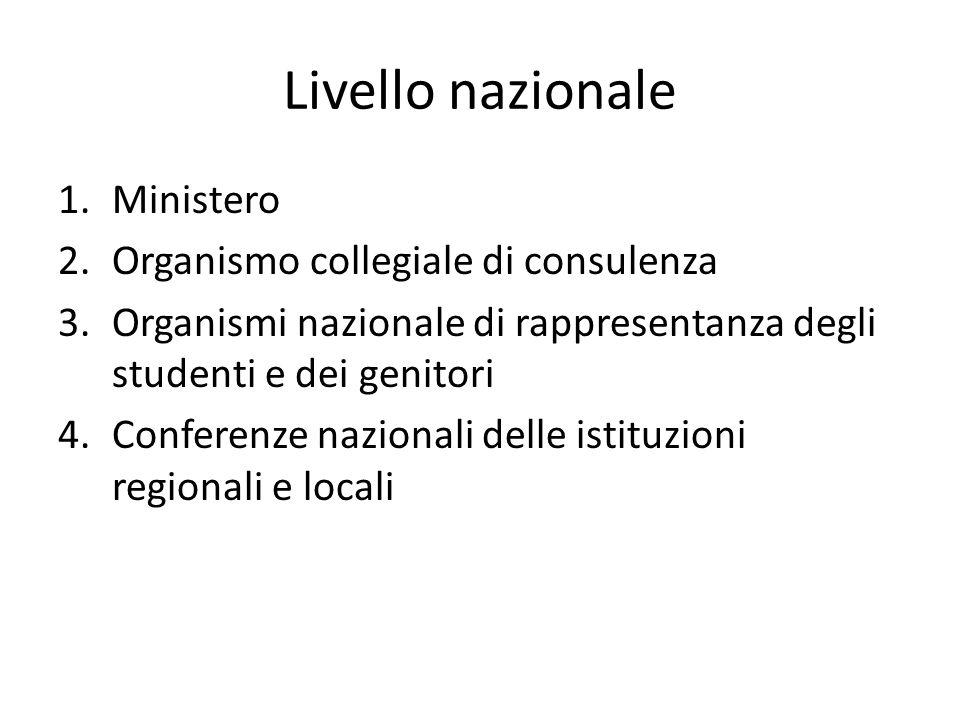 Livello nazionale Ministero Organismo collegiale di consulenza