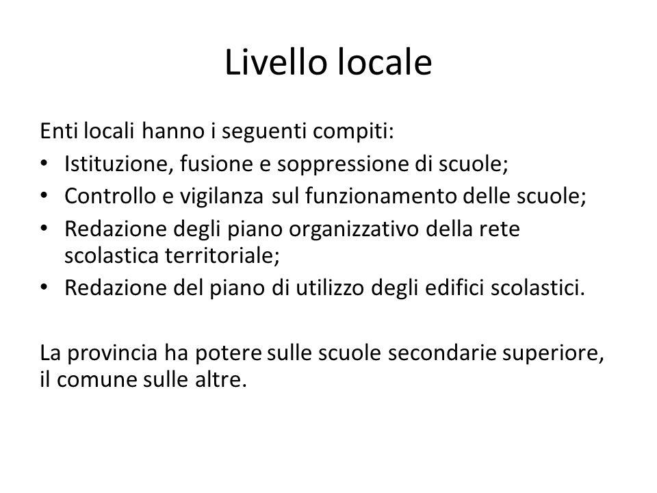 Livello locale Enti locali hanno i seguenti compiti: