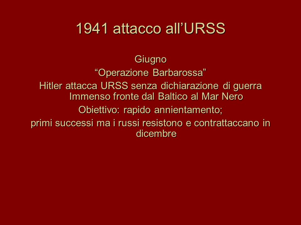 1941 attacco all'URSS