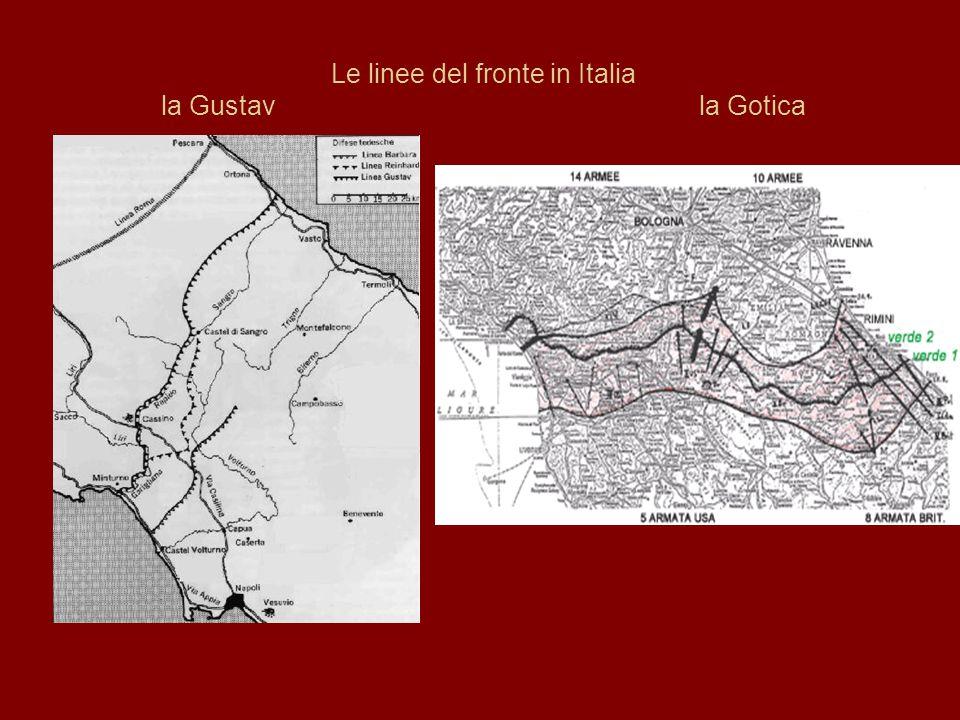 Le linee del fronte in Italia la Gustav la Gotica