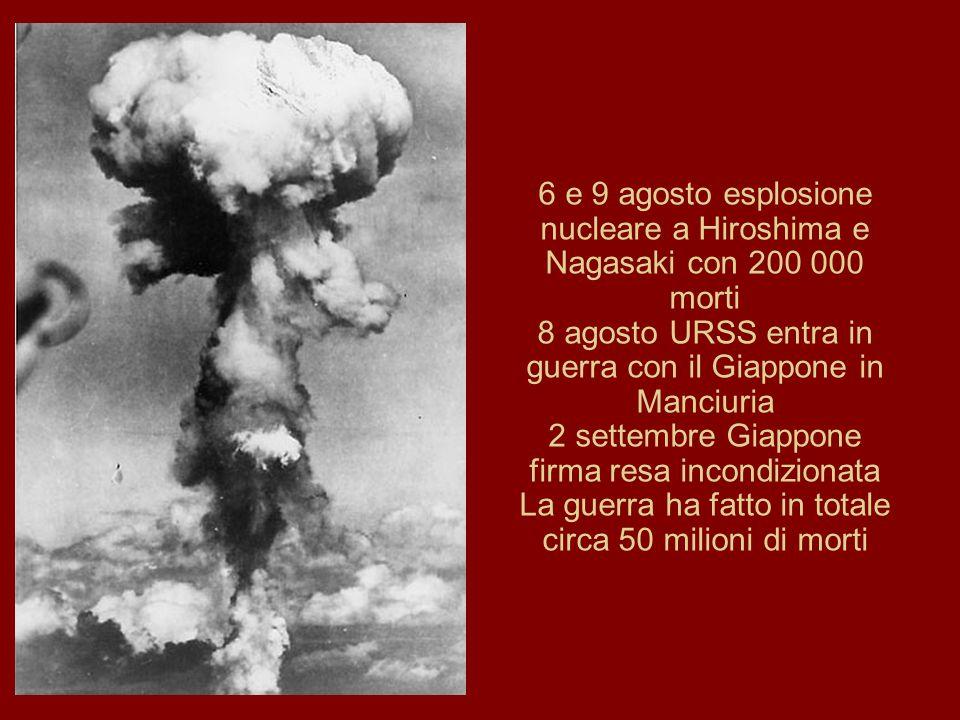 8 agosto URSS entra in guerra con il Giappone in Manciuria