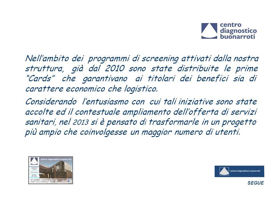 Nell'ambito dei programmi di screening attivati dalla nostra struttura, già dal 2010 sono state distribuite le prime Cards che garantivano ai titolari dei benefici sia di carattere economico che logistico.