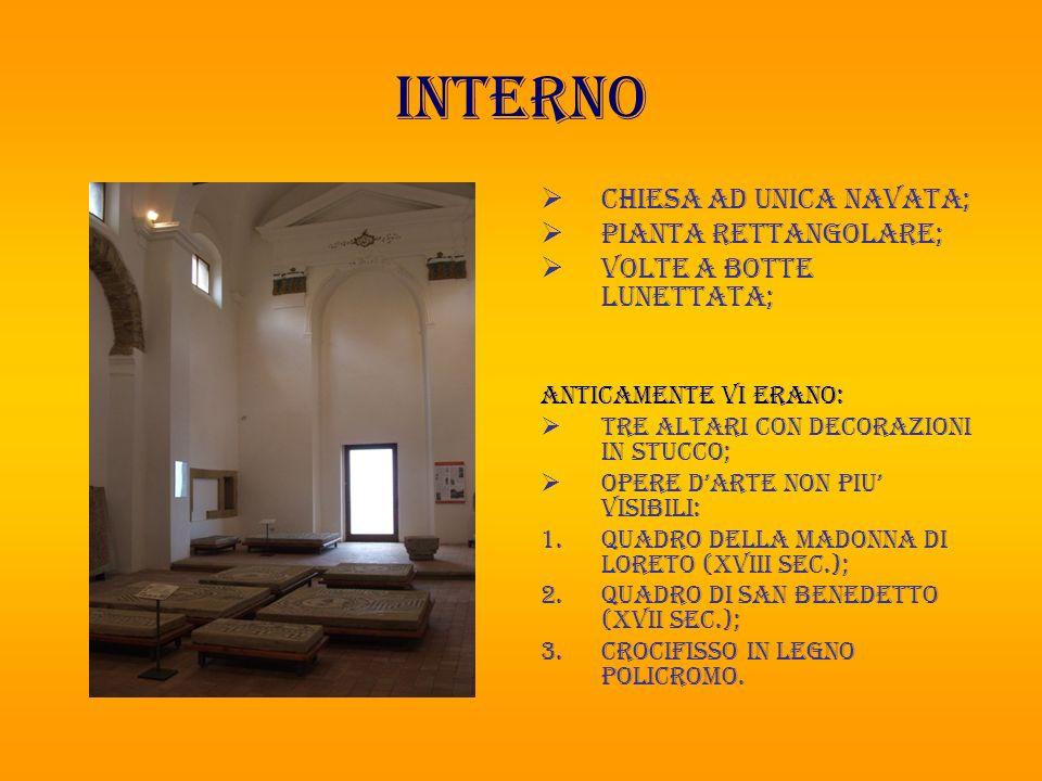 interno Chiesa ad unica navata; Pianta rettangolare;
