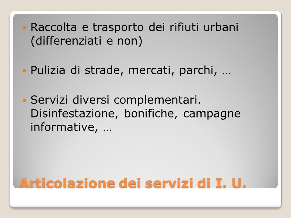 Articolazione dei servizi di I. U.