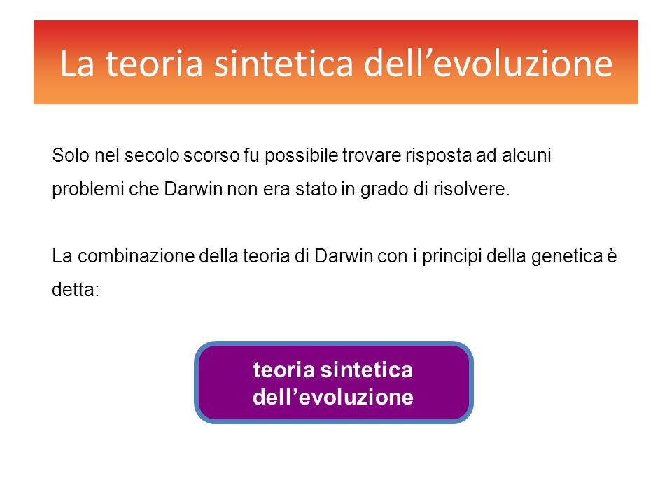 La teoria sintetica dell'evoluzione