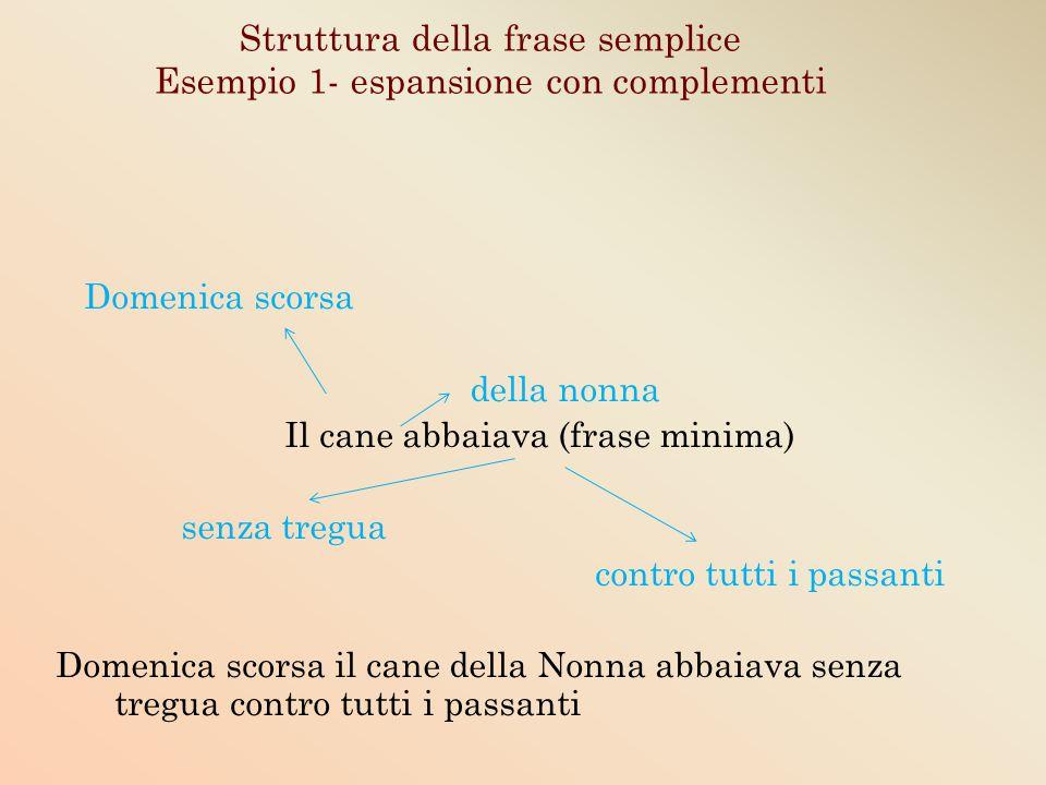 Struttura della frase semplice Esempio 1- espansione con complementi