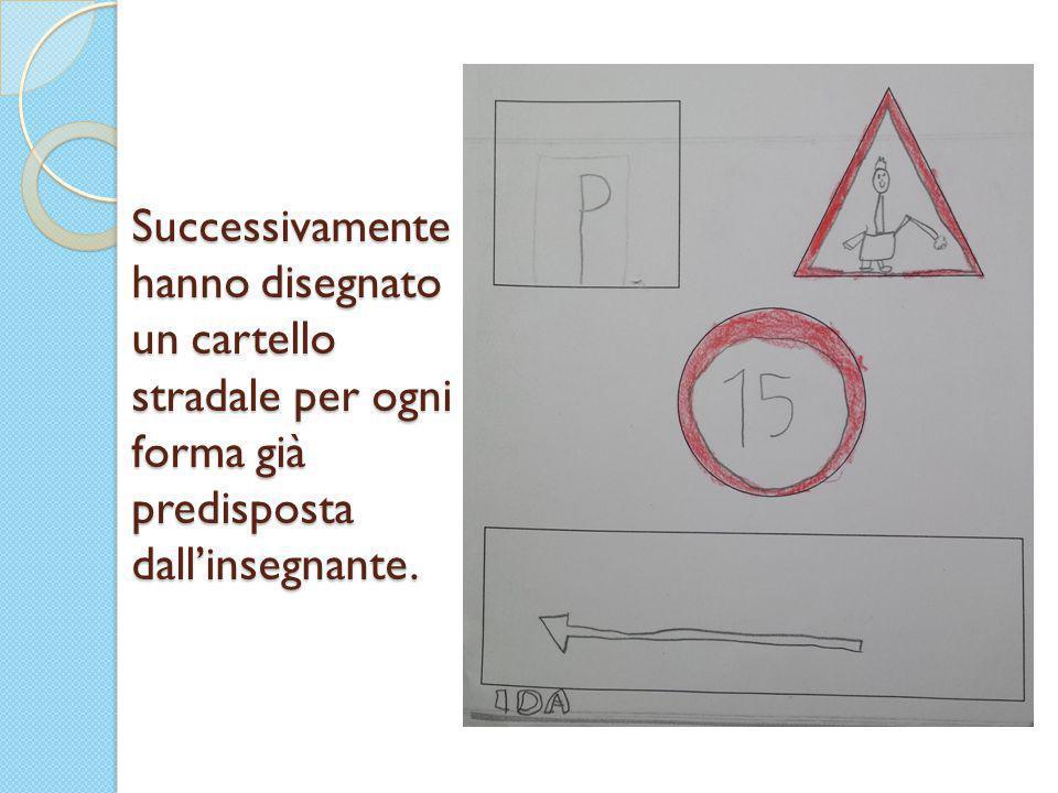 Successivamente hanno disegnato un cartello stradale per ogni forma già predisposta dall'insegnante.