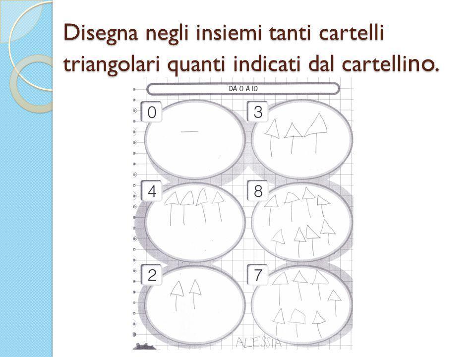 Disegna negli insiemi tanti cartelli triangolari quanti indicati dal cartellino.