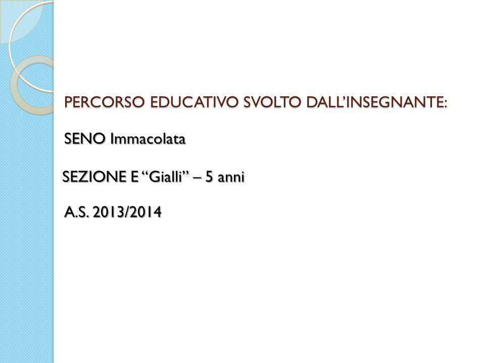 PERCORSO EDUCATIVO SVOLTO DALL'INSEGNANTE:
