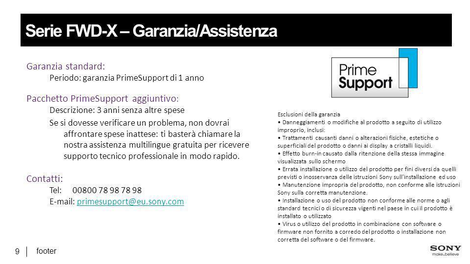Serie FWD-X – Garanzia/Assistenza