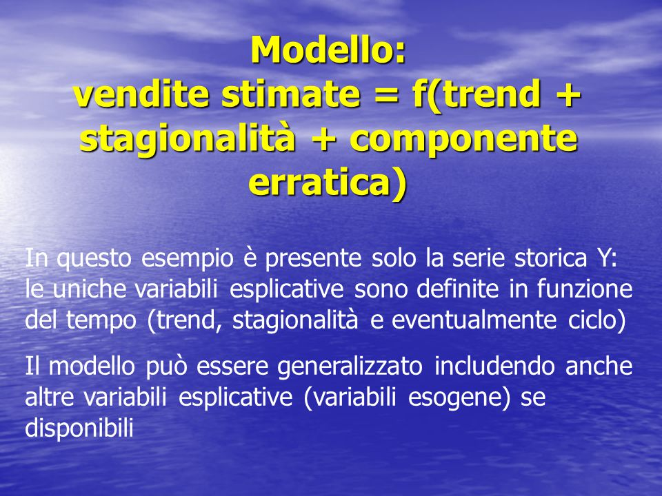 Modello: vendite stimate = f(trend + stagionalità + componente erratica)