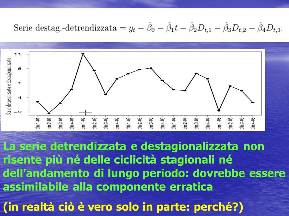 La serie detrendizzata e destagionalizzata non risente più né delle ciclicità stagionali né dell'andamento di lungo periodo: dovrebbe essere assimilabile alla componente erratica