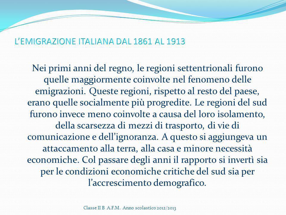 L'EMIGRAZIONE ITALIANA DAL 1861 AL 1913