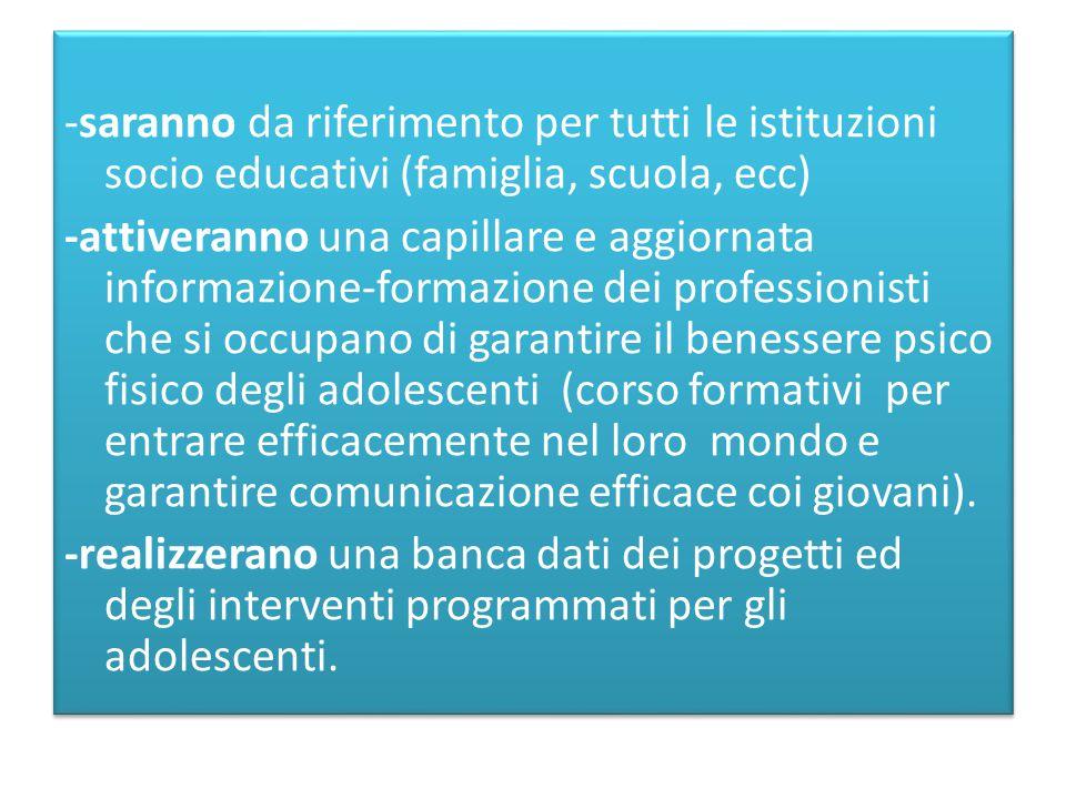 -saranno da riferimento per tutti le istituzioni socio educativi (famiglia, scuola, ecc)