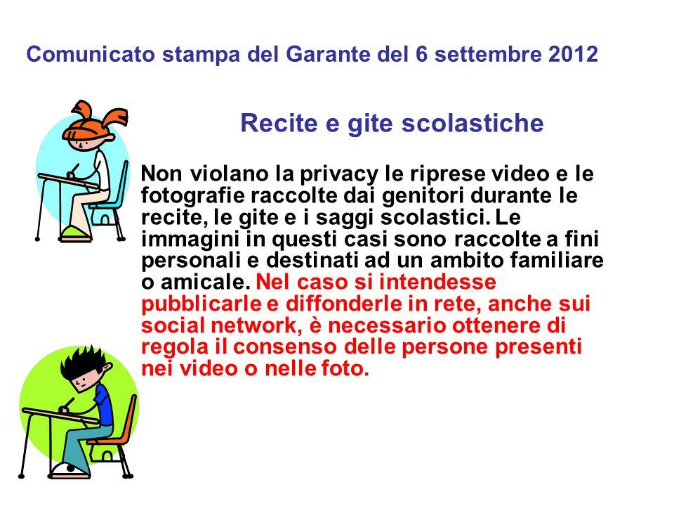 Comunicato stampa del Garante del 6 settembre 2012