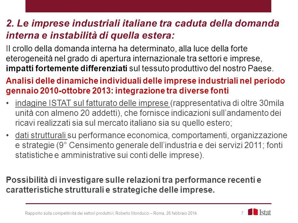 2. Le imprese industriali italiane tra caduta della domanda interna e instabilità di quella estera: