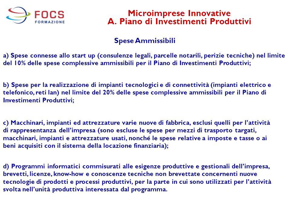 Microimprese Innovative A. Piano di Investimenti Produttivi