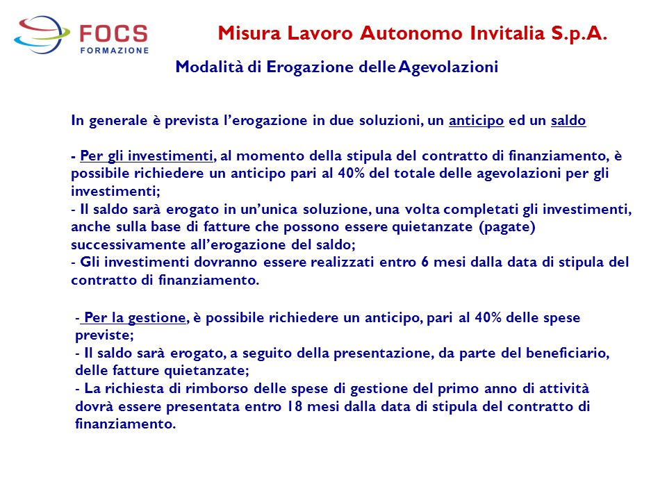 Misura Lavoro Autonomo Invitalia S.p.A.