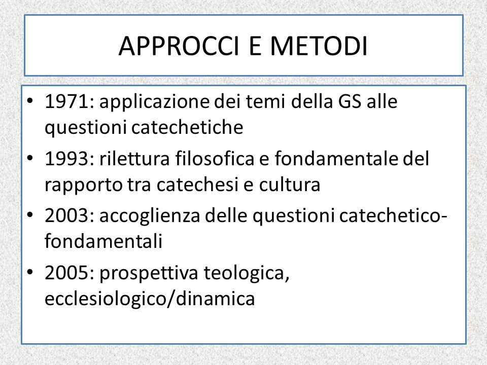 APPROCCI E METODI 1971: applicazione dei temi della GS alle questioni catechetiche.