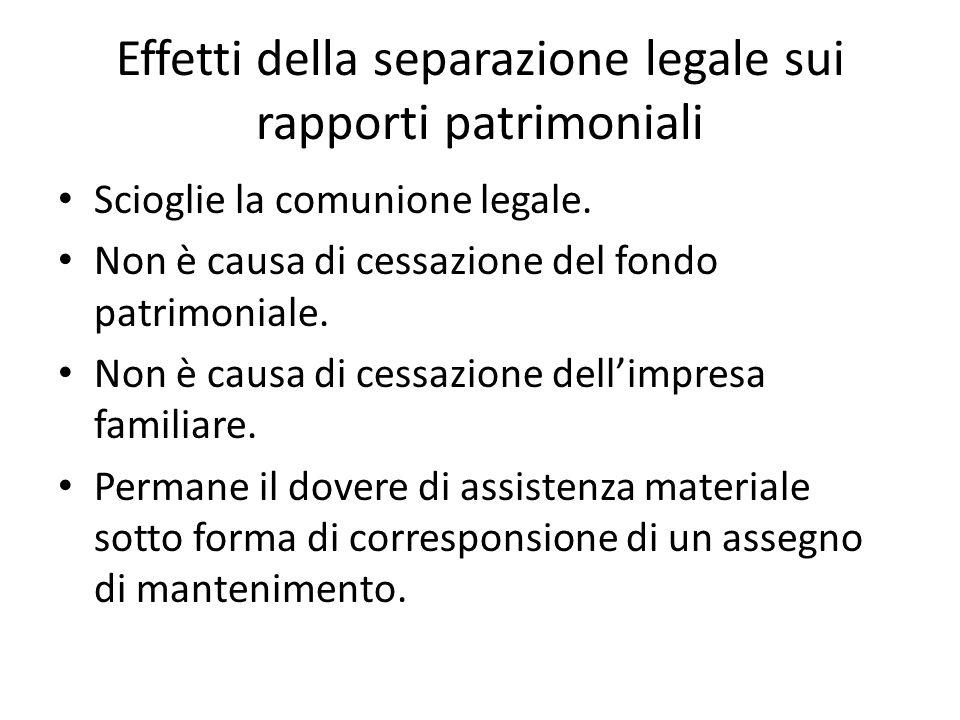 Effetti della separazione legale sui rapporti patrimoniali