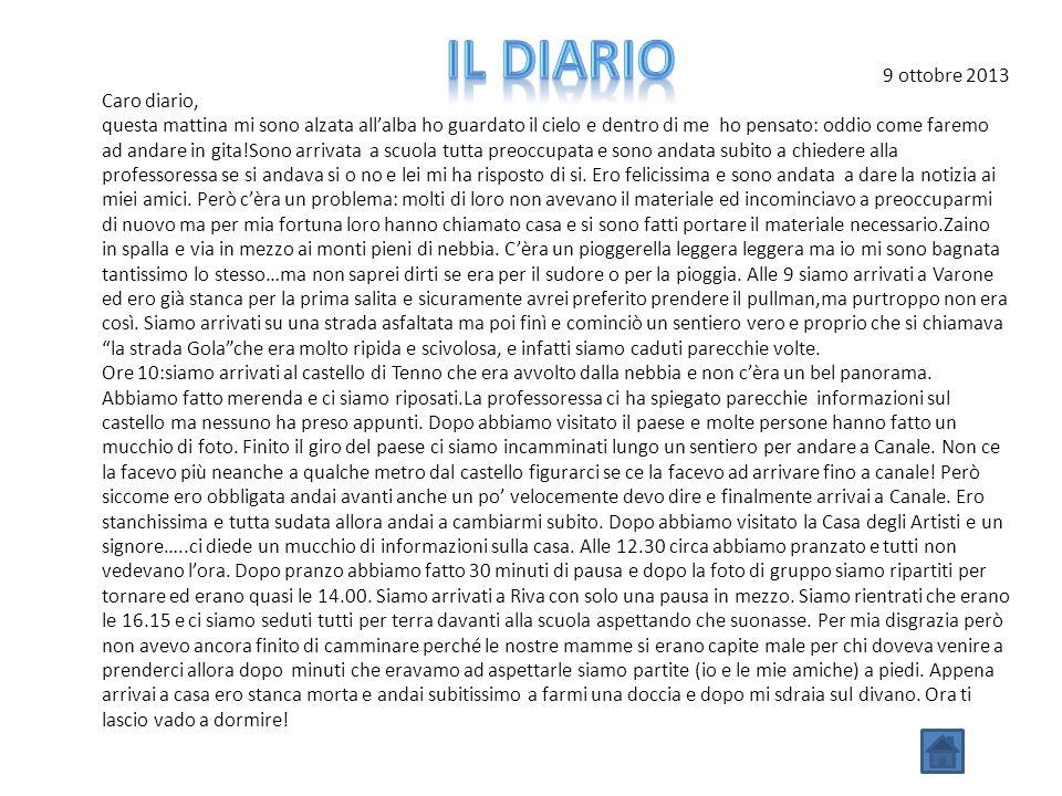 Il diario 9 ottobre 2013 Caro diario,