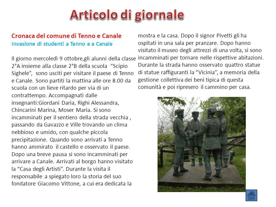 Articolo di giornale Cronaca del comune di Tenno e Canale