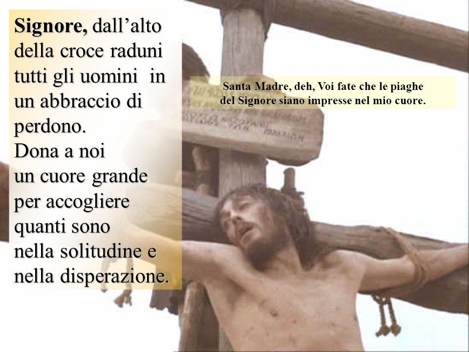 Signore, dall'alto della croce raduni tutti gli uomini in un abbraccio di perdono.