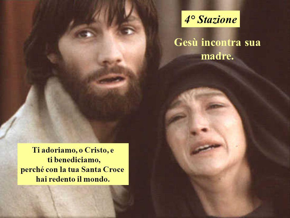 Gesù incontra sua madre. perché con la tua Santa Croce
