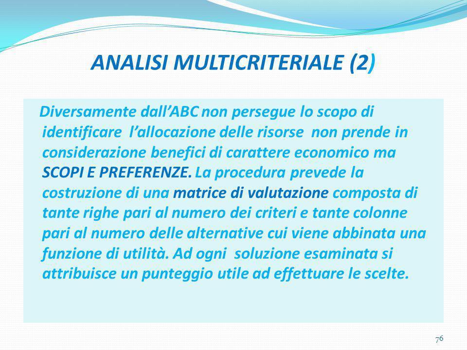 ANALISI MULTICRITERIALE (2)