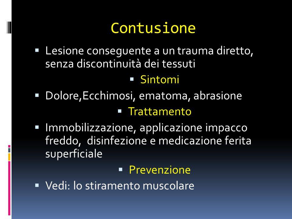 Contusione Lesione conseguente a un trauma diretto, senza discontinuità dei tessuti. Sintomi. Dolore,Ecchimosi, ematoma, abrasione.