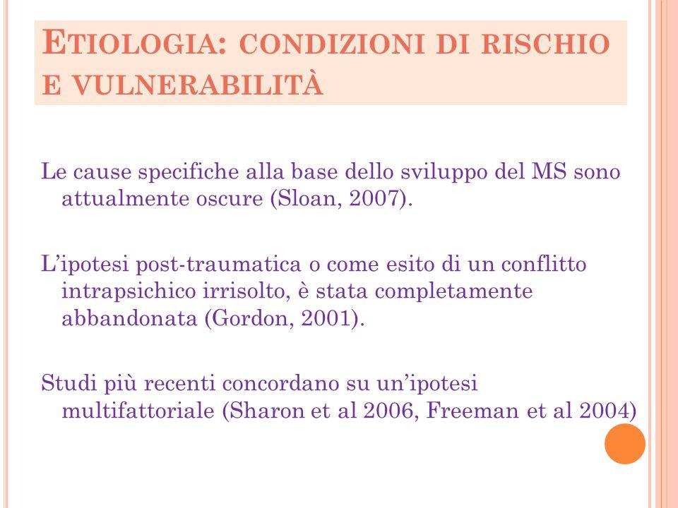 Etiologia: condizioni di rischio e vulnerabilità