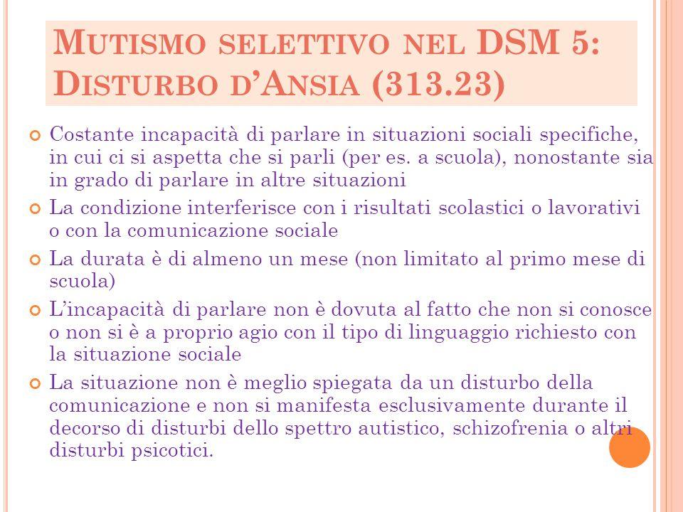 Mutismo selettivo nel DSM 5: Disturbo d'Ansia (313.23)