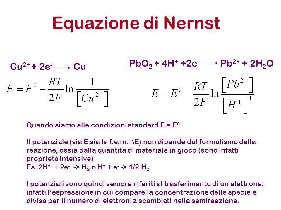 Equazione di Nernst Cu2+ + 2e- Cu PbO2 + 4H+ +2e- Pb2+ + 2H2O
