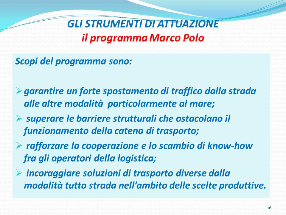 GLI STRUMENTI DI ATTUAZIONE il programma Marco Polo