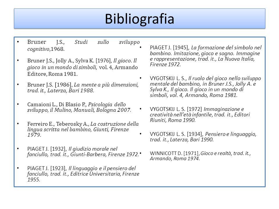 Bibliografia Bruner J.S., Studi sullo sviluppo cognitivo,1968.
