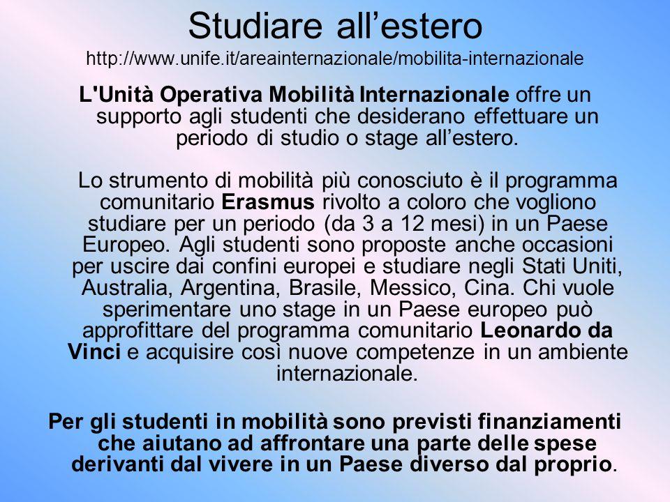 Studiare all'estero http://www. unife