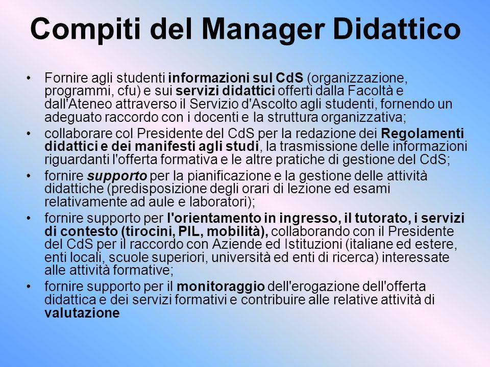 Compiti del Manager Didattico
