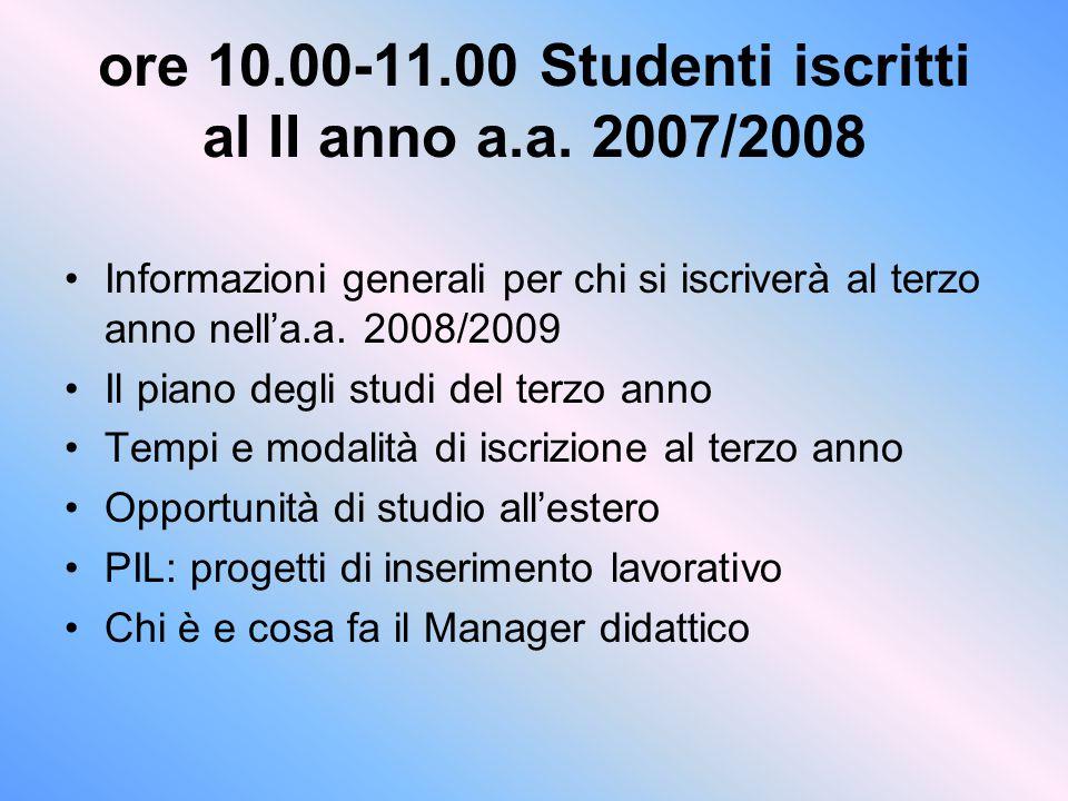 ore 10.00-11.00 Studenti iscritti al II anno a.a. 2007/2008