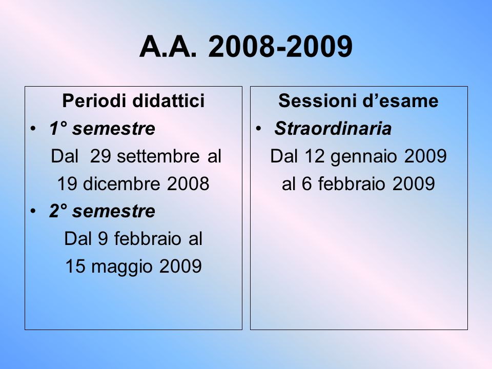 A.A. 2008-2009 Periodi didattici 1° semestre Dal 29 settembre al