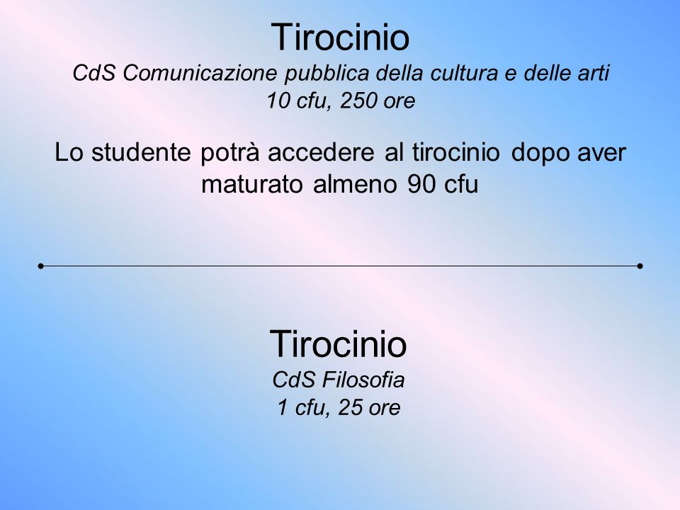 Tirocinio CdS Filosofia 1 cfu, 25 ore