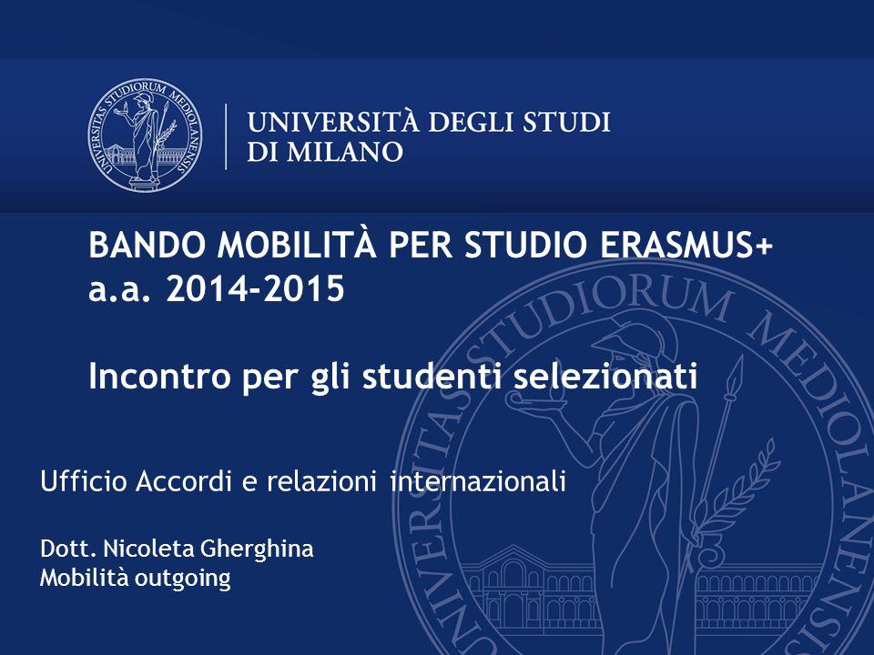 BANDO MOBILITÀ PER STUDIO ERASMUS+ a. a