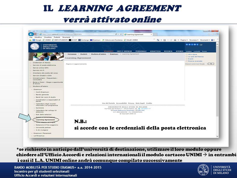 IL LEARNING AGREEMENT verrà attivato online
