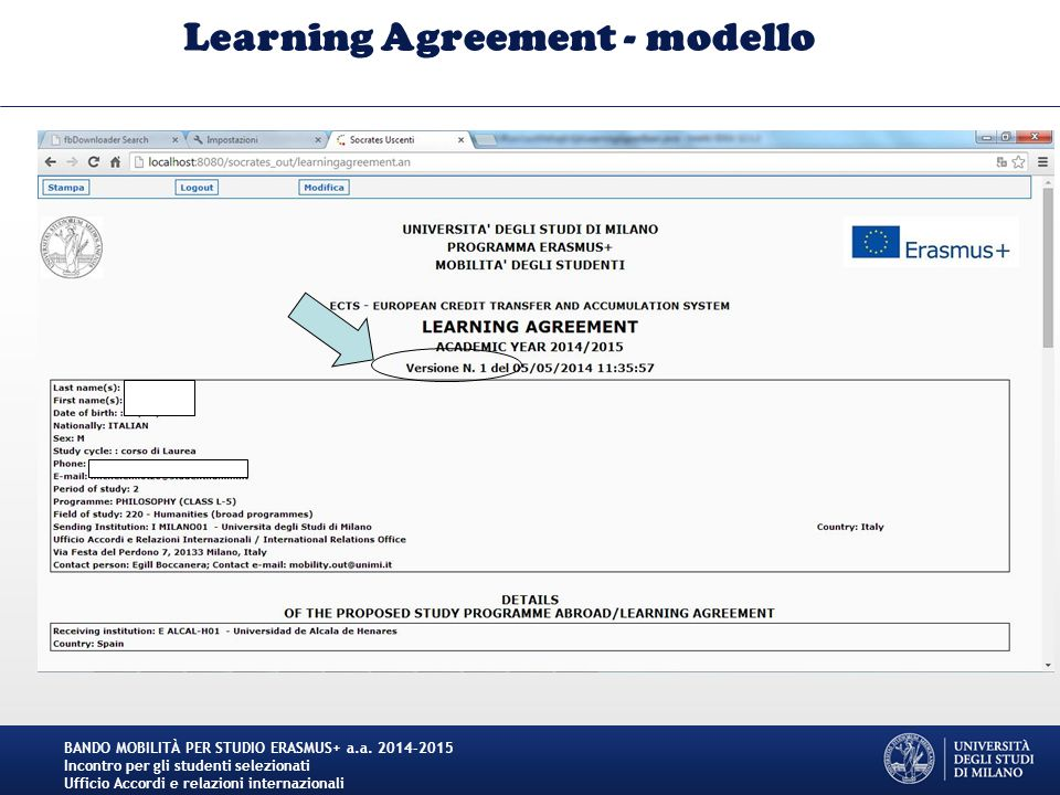 Learning Agreement - modello