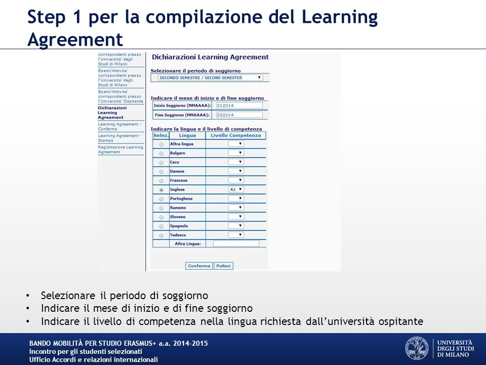 Step 1 per la compilazione del Learning Agreement