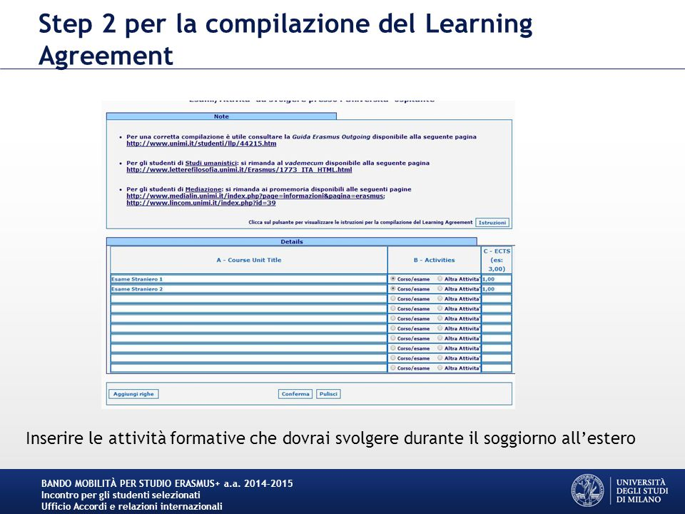 Step 2 per la compilazione del Learning Agreement