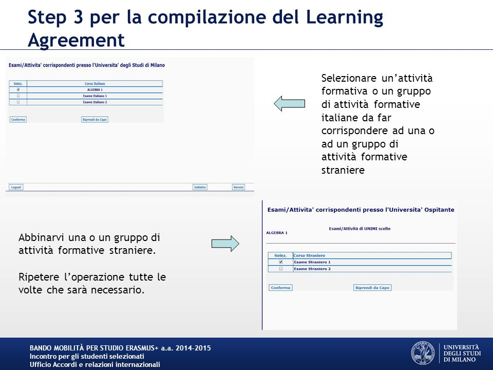 Step 3 per la compilazione del Learning Agreement