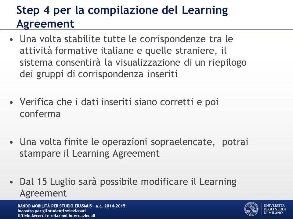 Step 4 per la compilazione del Learning Agreement